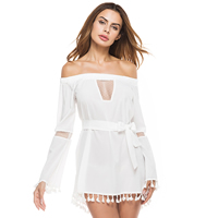 Lace & Polyester Miracle Tassel & Step Skirt One-piece Dress backless with belt & off shoulder & hollow patchwork striped white Sold By PC