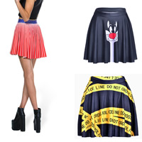 Polyester Pleated Skirt with Spandex printed different pattern for choice Sold By PC