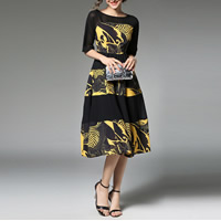 Chiffon & Polyester A-line One-piece Dress mid-long style & slimming transparent & mid-calf patchwork leaf pattern black Sold By PC
