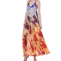 Chiffon Beach Dress deep V & backless ankle-length printed floral multi-colored Sold By PC
