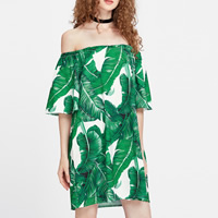 Polyester One-piece Dress backless & off shoulder printed leaf pattern green Size:Free Size Sold By PC