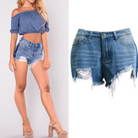 Cotton Denim Miracle Tassel & Middle Waist Shorts hollow frayed patchwork blue Sold By PC