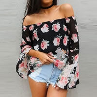 Chiffon Women Long Sleeve Blouses backless off shoulder & loose printed floral black Sold By PC