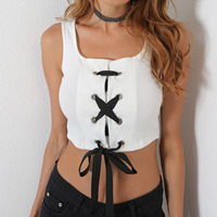 Spandex & Polyester Crop Top & Lace Up Tank Top slimming patchwork Solid white Sold By PC