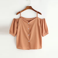 Polyester Women Short Sleeve Blouses backless & off shoulder plain dyed Solid khaki Sold By PC