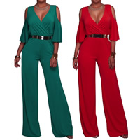 Nylon Long Jumpsuit deep V with belt & off shoulder & loose plain dyed Solid Sold By PC