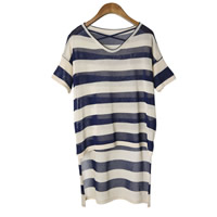 Polyester Women Short Sleeve T-Shirts side slit short front long back & loose printed striped Size:Free Size Sold By PC
