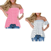 Spandex & Polyester Asymmetrical Women Short Sleeve T-Shirts backless off shoulder & loose printed striped Sold By PC