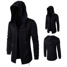 Cotton Plus Size Men Coat & loose plain dyed Solid black Sold By PC