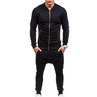 Spandex & Cotton Men Sportswear Set Pants & coat patchwork Solid black Sold By PC