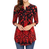 Spandex & Poliéster Camiseta de la manga de tres cuartos de las mujeres, impreso, diferente color y patrón de elección,  trozo