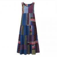 Linen & Cotton Plus Size One-piece Dress large hem design & loose printed Others PC