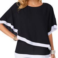 Poliéster Mujeres camisa de manga corta,  Gasa, labor de retazos, Otros, más colores para elegir,  ordenador personal