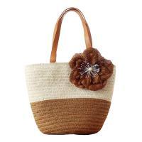 Jute & PU Leather Handmade & Weave Handbag contrast color Solid PC