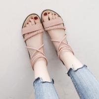 Rubber & Suede flat heel & back zipper Women Sandals hardwearing & anti-skidding Sold By PC