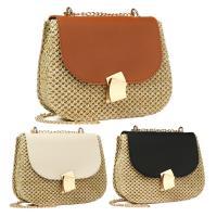 Straw Saddle & Weave Crossbody Bag with chain & Mini PC