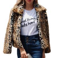 Acrylic Slim & Plus Size Women Coat slimming Spandex jacquard leopard brown PC