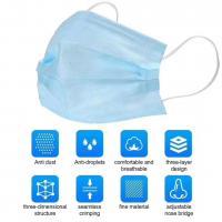 Meltblown & Nichtgewebte Stoffe Einwegmaske, schlicht gefärbt, Solide, Blau, :,  Stück
