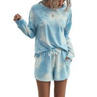 Polyester & Baumwolle Frauen Casual Set, kurz & Nach oben, Tie-Dye, mehr Farben zur Auswahl,  Stück